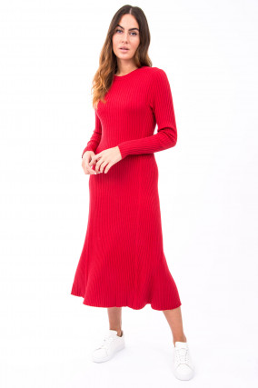 Langes Rippstrickkleid in Rot