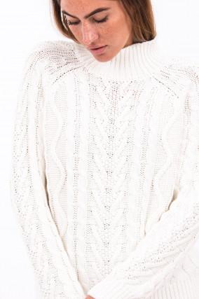 Grobstrickpullover in Weiß