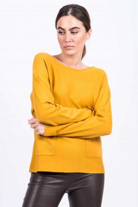 Pullover mit Vordertaschen in Ocker