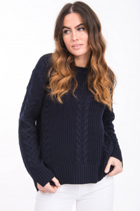 Pullover mit Zopfstrick-Design in Midnight