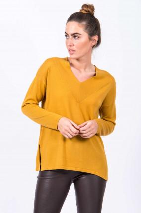 Pullover mit V-Ausschnitt in Ocker