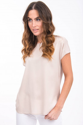 Shirt aus Seiden-Mix in Beige