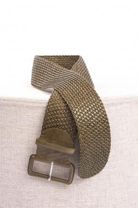 Breiter geflochtener Ledergürtel in Khaki
