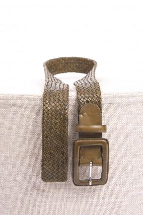 Geflochtener Ledergürtel in Khaki