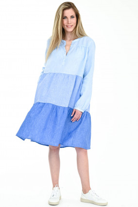 Volant-Leinenkleid ELVIRA in Blau