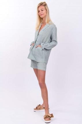 Blazer & Shorts aus Leinen in Grün/Weiß gestreift