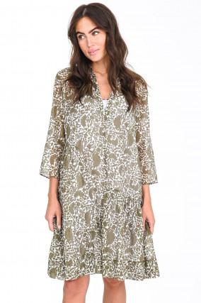 Kleid aus Baumwoll-Seiden-Mix in Oliv/Weiß
