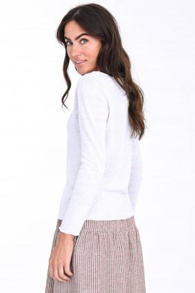 Strickshirt aus Leinen-Baumwoll-Mix in Weiß