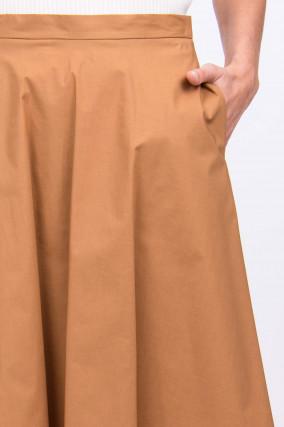 Baumwollrock mit Eingrifftaschen in Camel