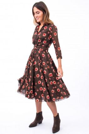 Kleid AUDREY in Braun/Rot