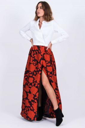 Kleid (Bluse & Rock) JIINY in Rot/Weiß
