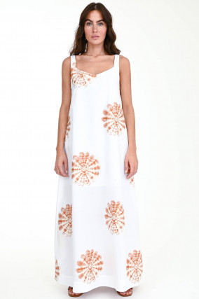 Maxi-Kleid RAMINA in Weiß/Rost