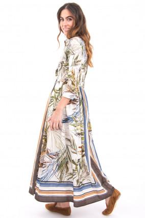 Langes Blusenkleid mit Faltenlegung in Multicolor
