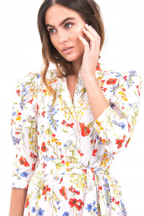 Blusenkleid mit Taillengürtel in Multicolor