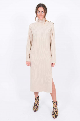 Rollkragen-Strickkleid in Beige