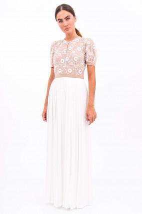 Maxi-Kleid mit Puffarm in Weiß/Nude