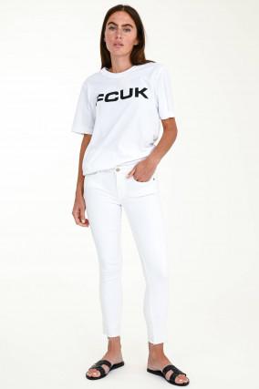 Distressed Jeans PYPER CROP in Weiß