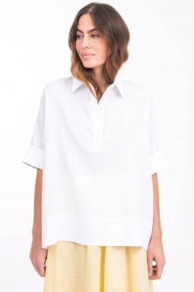 Oversized Blusenshirt aus Leinen in Weiß