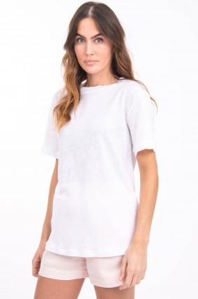 Leinenshirt mit offenen Kanten in Weiß