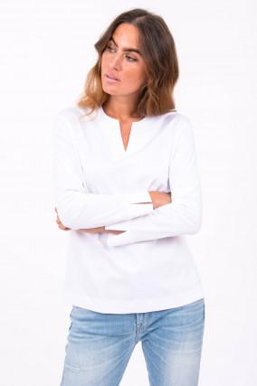 Baumwoll-Blusenshirt in Weiß