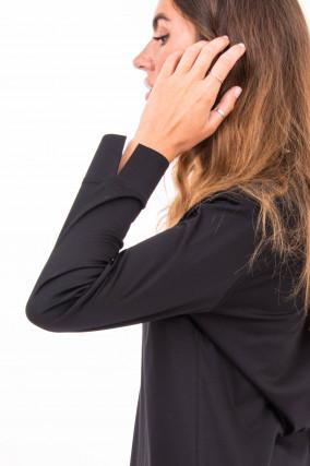 Baumwoll-Blusenshirt in Schwarz