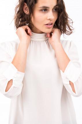 Bluse aus reiner Seide mit Stehkragen in Weiß