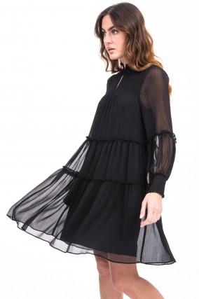 Kleid mit Rüscherln in Schwarz