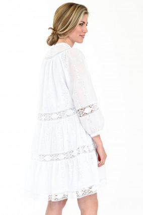 Tunikakleid mit Lochstick in Weiß