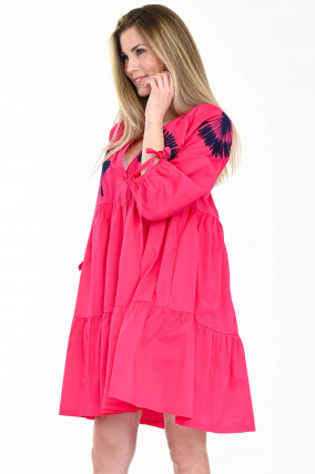 Volantkleid mit Stickerei in Melon-Pink