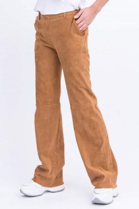Verlourslederhose mit weitem Bein in Camel