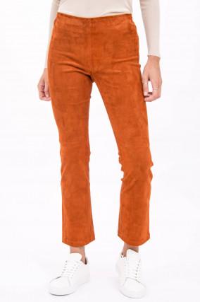 Velourslederhose mit Kick in Orange