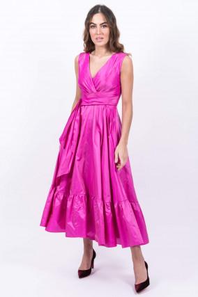 Langes Seidenkleid in Pink