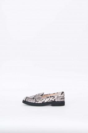 Loafer mit Python-Prägung in Grau/Schwarz