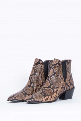 Stiefelette aus Leder in Reptil-Optik