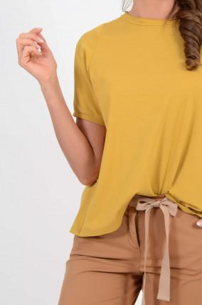 Shirt mit Kellerfalte in Gelb