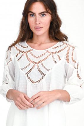 Oversized Bluse LOUMA mit Lochstick in Weiß