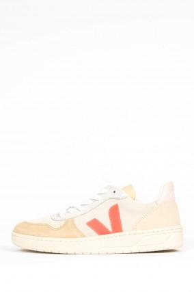 Veloursleder-Sneaker V-10 NATURAL ROSÉ FLUO