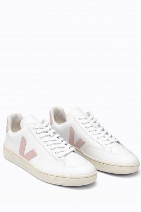 Glattleder-Sneaker V-12 in Weiß/Rosa