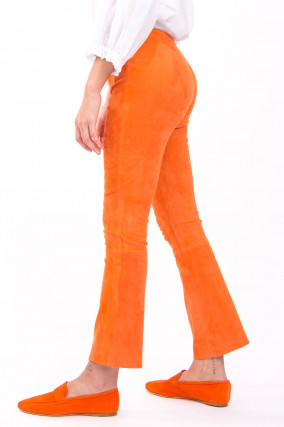 Raulederhose mit Kick in Orange