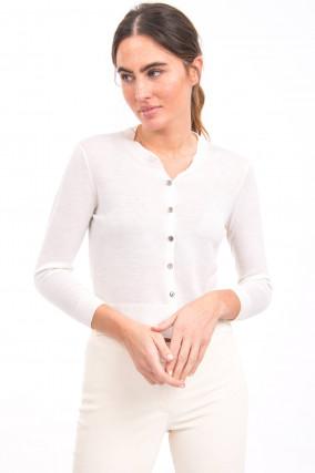 Strickjacke aus Merino-Wolle in Weiß