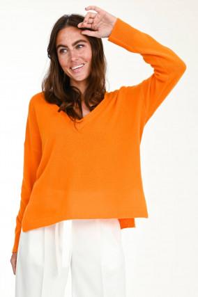 Oversized Kaschmirpullover in Orange