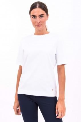 Baumwoll-Shirt mit Rundhals in Weiß