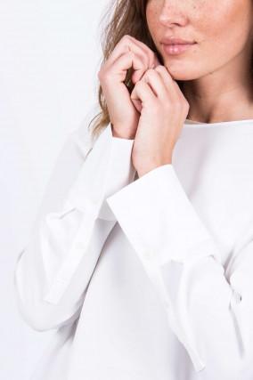 Blusenshirt mit breiter Manschette in Weiß