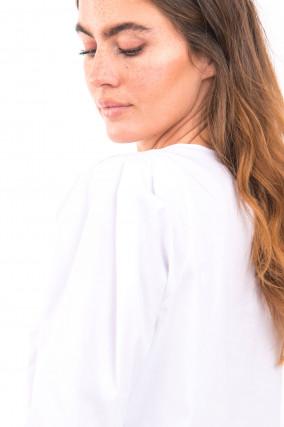 Blusenshirt mit Faltenlegung in Weiß