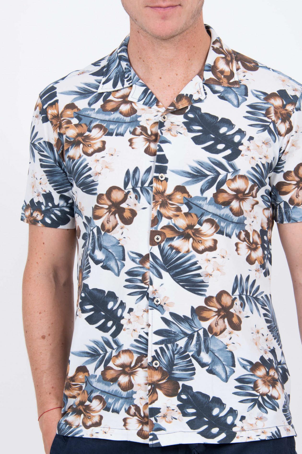 pretty nice e0abb 48824 Jersey-Hemd mit tropischem Muster