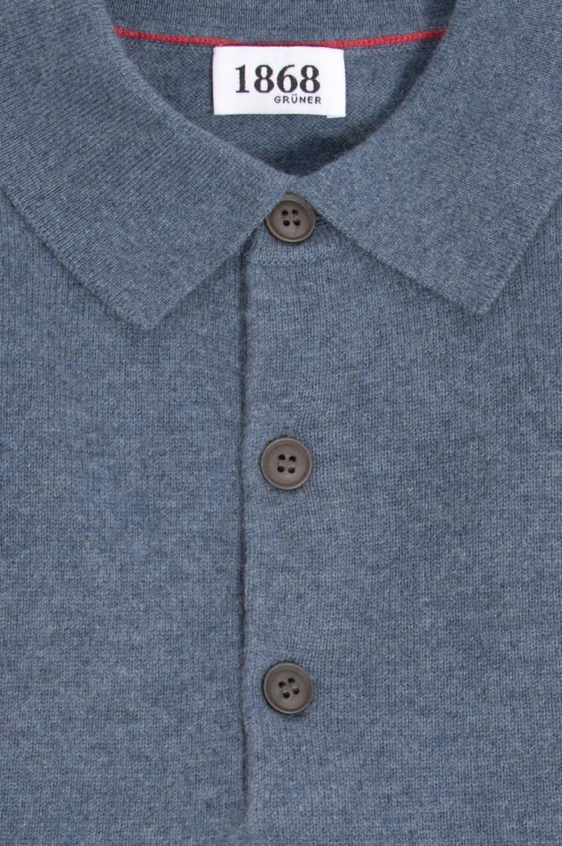 1868 Cashmere Strickpolo in Blau meliert