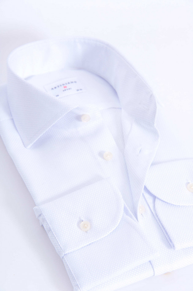 Artigiano Baumwollhemd mit Struktur in Weiß