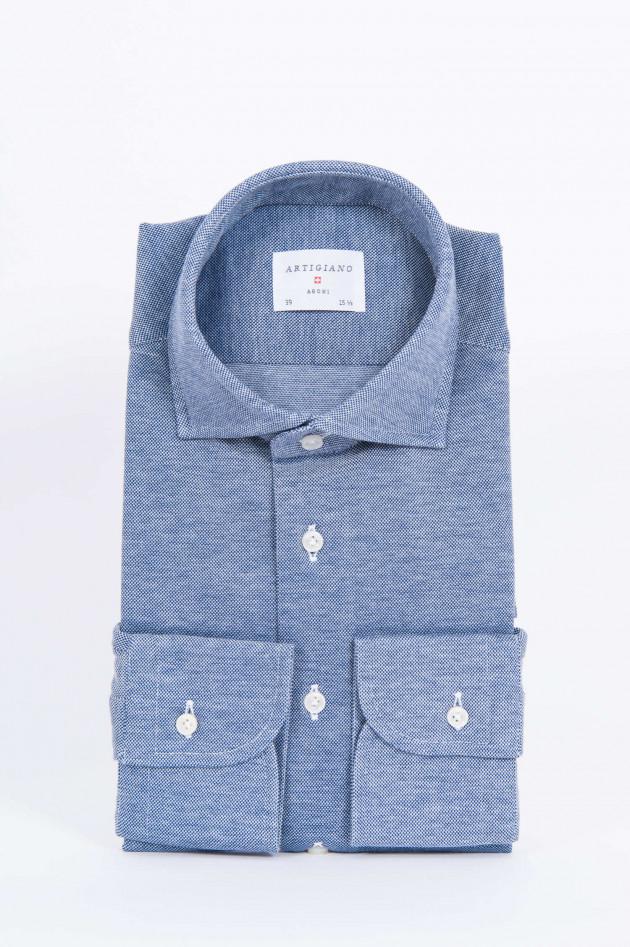 Artigiano Oxford Piqué-Hemd in Navy/Weiß gemustert