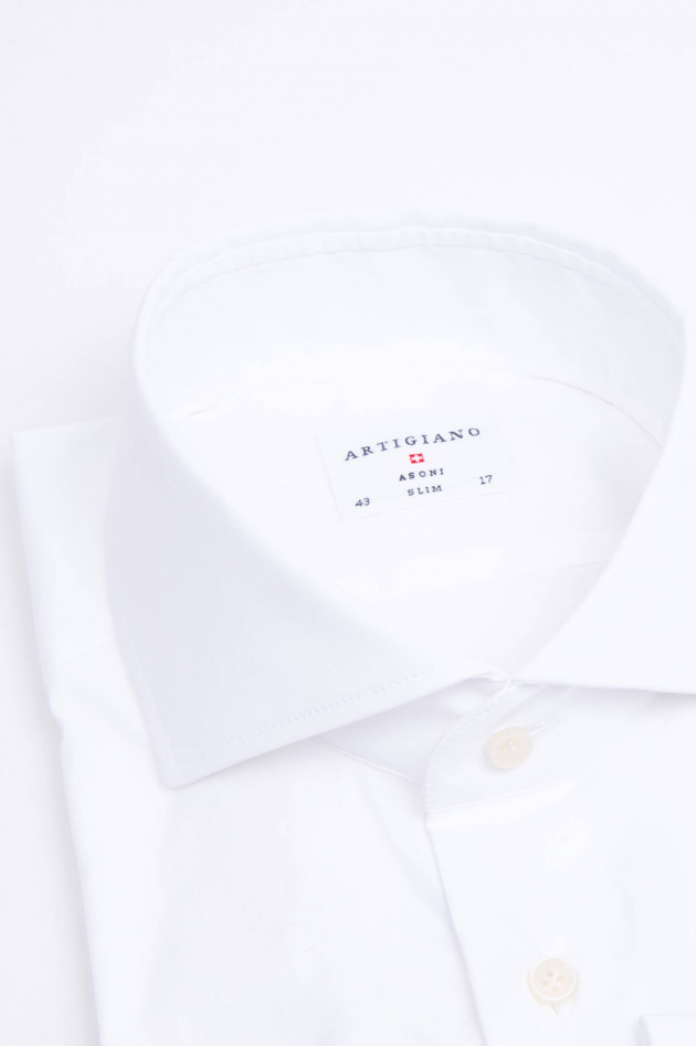 Artigiano Hemd mit Haisfischkragen in Weiß