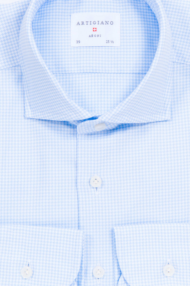 Artigiano Hemd mit Hahnentrittmuster in Hellblau/Weiß